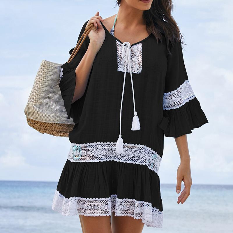 5c3b90435b0b Plážové šaty tunika s háčkovanými vzory Barva Bílá