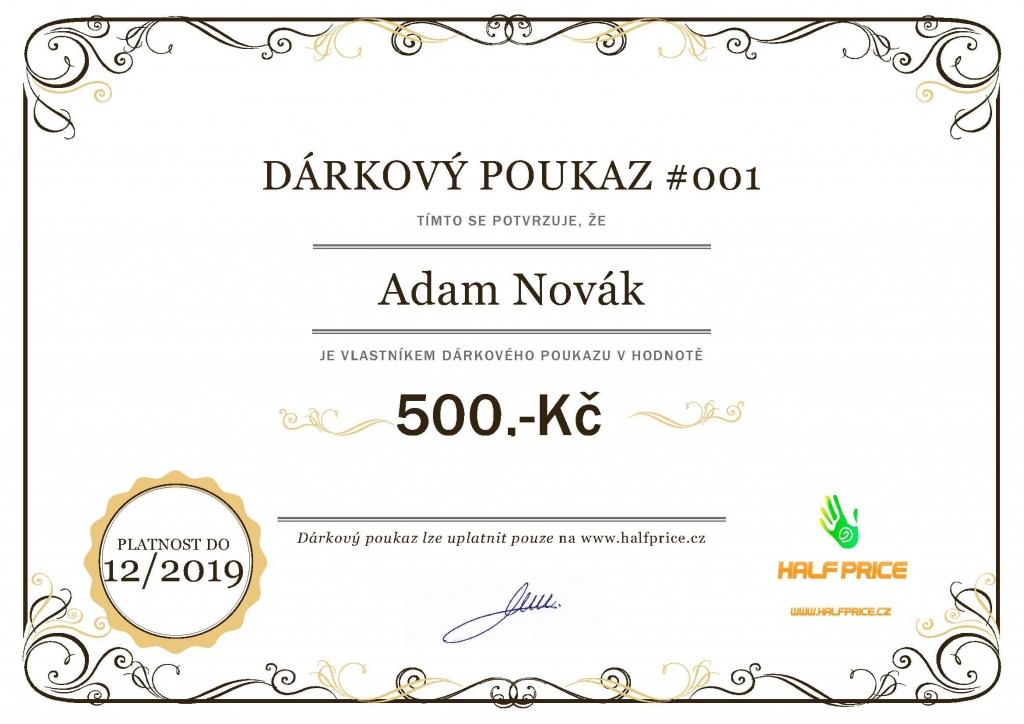 Dárkový poukaz Cena 2000
