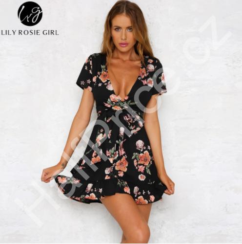 3105fb572381 Krásné sexy letní šaty s volánky Velikost L