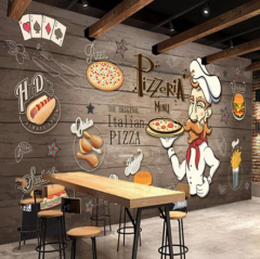 3D Tapeta Pizza Restaurace